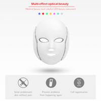 Nueva LED fotón electrónico rejuvenecimiento llevado piel del cuello 7 del color máscara de arrugas acné tratamiento del acné fotón máscara contra cosmético para la piel