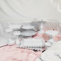 11 Шт. Тонкий Диск Свадебный Кекс Лоток Десерт Металлический Кристалл 3 Уровня Пластины Оптовая Белый Розовый Старинные Набор Торт Стенд