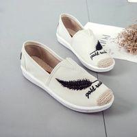 Sagace زائد الحجم 35-45 التطريز النساء الأحذية 2019 لوفر عارضة الانزلاق على أحذية امرأة قماشية القنب قماش الأحذية المسطحة Chaussure