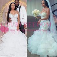 2019 Robes De Mariée Sexy Sirène Chérie Perles De Cristal Perlé Broderie À Volants Couches Nigérians Robes De Mariée