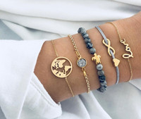 pulseras boho fijados para las mujeres Amor Infinito Mapa tortuga elefante grúa piña piedra arco Luna estrella perlas naturales brazalete de joyería