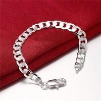 Vendita 8M Link in argento da uomo in argento 925, braccialetti a catena 20x0.8 cm GSSB246, bracciale gioielli placcato argento sterling