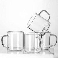 Vetro tazze di caffè Set di 4, Grande Wide Mouth Mocha bevande calde tazze (14 once), Coppe Cancella Espresso con maniglia, senza piombo Bere vetro,