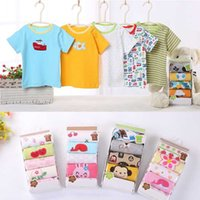 baby Summer girl boy cotton short sleeved T shirt baby cloth...