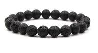 10mm schwarze Lava Naturstein-Korn-Armbänder für Frauen Vulkangestein Tiger-Augen-Korn-Strang-Armband Männer Schmuck Geschenke