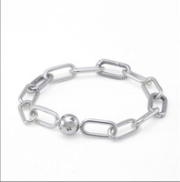 Charms real S925 Sterling Silver Pulseiras Me Collecction Chunky Fazer a ligação Bracelet Bangle Fit For Pandora DIY Bead encanto