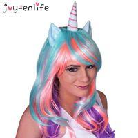1set Cosplay Unicorn peruca Feliz Aniversário Unicorn Tema do partido Decoração Baby Shower Supplies crianças partido crianças