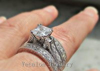 Vecalon Full Princess cut 10ct Simulated diamond cz 3- in- 1 E...
