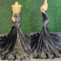 2020 Black Velvet Mermaid Lange Abendkleider Sexy Backless mit Gold Applikationen Qualitäts-African Black Mädchen Abendkleid