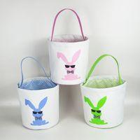 Lapin de Pâques mignon panier de Pâques Imprimer Bucket Paillettes Toile de Pâques Sacs cadeaux enfants bonbons Sac chanceux Paniers d'oeufs Festival de sac de rangement INS
