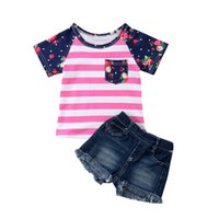 W435 Summer Baby Girls Clothes Set Kids Short Sleeve Florals Stripe T-Shirt + Jeans Shorts 2pcs Outfits Children Clothing Suit