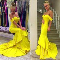 Сексуальные ярко-желтые русалки выпускные платья 2019 от плечевых вечерних платья для вечерних платьев поезда Официальное платье для вечеринки Дешевая официальная одежда
