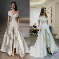 2019 Sexy Jumpsuit White Evening Dresses Satin Off Shoulder ...