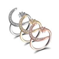 Abertura Ajustável CZ Anéis Moda Jewerly Party Gift Natural Gemstones Moon Star Anel de diamante com pedras laterais