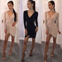 Sexy Femmes col V profond à manches longues Bandage moulante cocktail Mini robe Skinny Sexy Hot New