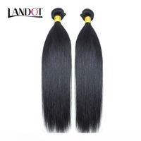 K 2 Paketler Perulu Malezya Hint Brezilyalı Virgin İnsan Saç Dokuma İpeksi Düz Ucuz İşlenmemiş 8a Remy Saç Uzantıları Natura