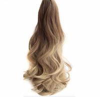 """2019 Long Wavy Ombre 20 """"Clip On Hair Extensions Klaue Pferdeschwanz Synthetische Haarteil Hitzebeständiges Pferdeschwanz"""