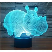 3D LED Night Light Бегемот Бегемот с 7 цветов Light для домашнего украшения таблицы лампы Удивительных визуализаций Optical Illusion Высоких