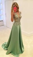 Modest Dantel Aplikler Uzun Abiye 2020 V Yaka Kolsuz bir Çizgi Kat Süre Örgün Parti Artı boyutu Düğün Misafir Elbise Yeni