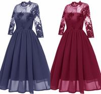 Nuevas mujeres Vintage Cuello alto Mangas largas Cinturón de encaje floral Fiesta de boda Vestido de tanque de boda Borgoña Dama de honor Una línea Vestidos Robe Vestidos FS6113