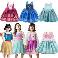 Großverkauf 2019 neu in den Kindern imprägniern Schutzblech-Kleid-Mädchen-Karikatur-Prinzessin Drawing Coverall Dress Gesamt 2-7Y E1119