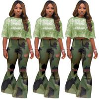 Новые поступления Мода Женщины Дыры зеленый камуфляж клеш брюки осень Sexy высокой талией полную длину Flare брюки для девочек высокого качества
