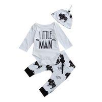 Mignon Enfant Bébé Garçons Coton À Manches Longues Body longue ceinture floral Leggings Pantalon avec chapeau Tenues Vêtements Ensemble pour bébé