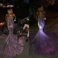 African Sexy Black Girls riflettente viola promenade della sirena abiti lunghi Plus Size Sweetheart floor-lunghezza paillettes formale abito da sera abiti