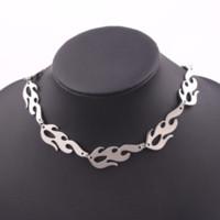 Moda charme jóias europa e américa cadeia de onda de água removível liga de prata chapeamento chama choker colar para homens