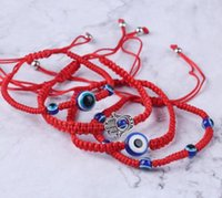 Handwoven Armband Glück Armband Kabbalah rote Schnur Thema Hamsa Armbänder Blau Turkish Evil Eye Charm Schmuck Fatima-Armband DHL-freies