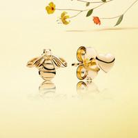 Оптово-шпилька серьги 925 посеребренные 18K золото желтый пчелиный темперамент личности для Pandora ювелирных изделий высокого качества высокого серьги
