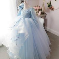 2018 Backless Dantel Çiçek Kız Elbise Uzun Kollu Yay Katlı Küçük Kız Gelinlik Vintage Pageant Elbiseler Abiye F054