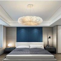 İskandinav Kolye Işıklar Doğal Swan tüy Droplights Oturma odası Süspansiyon Düğün Dekor Romantik Aydınlatma E27