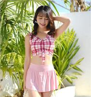 Traje de baño Mujer de Split cuerpo atractivo sexual Shows Thin fragantes viento caliente Nuevo resorte de la falda del traje de baño de Corea Broken Flor de dos piezas