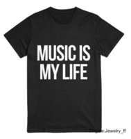 Music Is My Life Letters Print Women T Shirt Cotton Casual F...