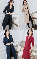 HOT CLASSIC! WOMEN FASHION ENGLAND X-LONG TRENCH COAT HIGH QUALITY BRANDS DOUBLE BREASTED SLIM BELTED TRENCH FOR WOMEN B886864F310 S-XXL