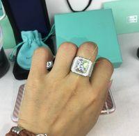 925 실버 다이아몬드 브릴리언트 럭셔리 대형 에디션 벌집이 낮은 남자 지르콘 와이드 에디션 남성 다이아몬드 반지