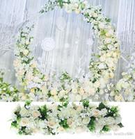 2020 100cm 인공 실크 로즈 행 DIY 웨딩 도로 가이드 아치 장식 인공 꽃 오프닝 스튜디오 소품 드레스 꽃