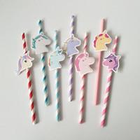 7 colori Unicorn carta Cannucce rosa blu di buon compleanno Cannuccia monouso unicorno paglia da tavola decorazione del partito LJJ_A683