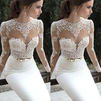 Largo del cordón Gala de baile de las mujeres vestido vestido de fiesta formal blanco de las señoras de encaje ajustado de manga larga vestido largo