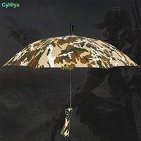 Camouflage Umbrella Sopravvivenza 98k manico lungo Ombrelli semiautomatica pieghevole protezione solare pesca escursionismo Ombrello Gun Ombrelli maniglia