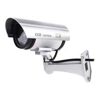 Fimei Caméra factice imitation caméra de sécurité avec activation lumière rouge ABS Matériel Forme de balle 360 Degrés Rotation Faux Cam
