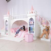 0125TB005 европейский стиль современная девушка мебель для спальни принцесса замок детская кровать с горкой шкаф для хранения двуспальная кровать