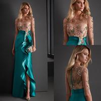Zarif Resmi Mermaid Balo Abiye Giyim Boncuk O Boyun Yarım Kollu Yan Bölünmüş Kadınlar Örgün Balo Abiye Kokteyl Parti Elbise