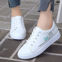 Fashion Women' Casual Shoes Lace- Up Flat Sport Shoes Cr...