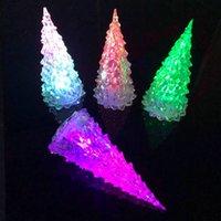 Árbol de navidad acrílico Los juguetes brillantes de los niños LED LED Colorful Crystal Flash Little Luces de la noche Regalos de Navidad