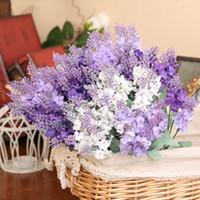 10 глав Романтического Прованс лаванда Шелковых Искусственные цветы Фиолетовый букет пластиковых Поддельный цветок Белые для дома Свадебных украшений