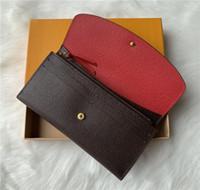 Commercio all'ingrosso 9 colori cerniera moda singolo pocke uomini in pelle donna portafogli signora signore borsa lunga con la carta della scatola arancione 60136 LB81