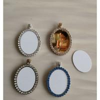 قلادات فارغة التسامي مع الحفر الأزياء البيضاوي امرأة قلادة قلادة المجوهرات 30 * 40 ملليمتر