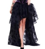 긴 Maxi Steampunk 탄력있는 스커트 여성 블랙 푹신한 얇은 얇은 얇은 얇은 껍질을 벗긴 쉬폰 레이스 미디 고딕 코르셋 스커트